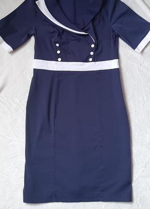 Темно-синиее платье в деловом стиле 50 рр