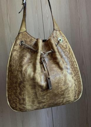 Винтажная сумка gucci drawstring karung beige snake hobo