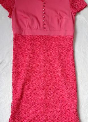 Яркое платье кораллового цвета 48-50 рр