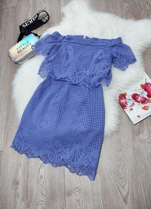 Летнее кружевное стрейчевое платье с открытыми плечами