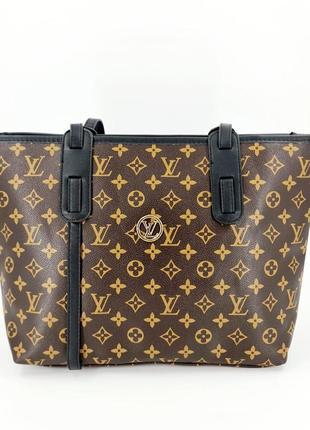 Жіноча бредова сумка лв шопер тоут в кольорах  коричневий з чорними ручками