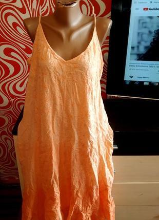Якрое стильное платье/сарафан,миди,омбре, хлопок,трпаеция,с вышивкой