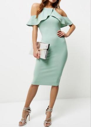 Платье миди мятное новое