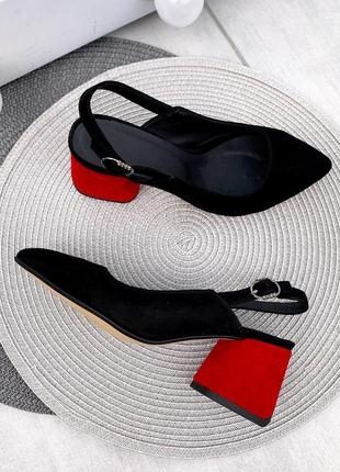 Туфли чёрные красные замшевые замша кожаные кожа