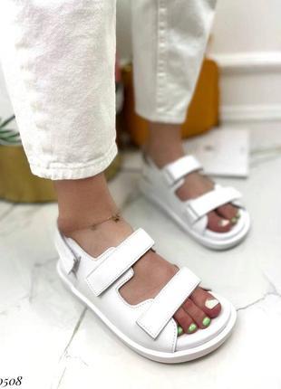 Босоножки на липучках натуральная кожа на платформе тлетние сандалии сандали боссоножки белые