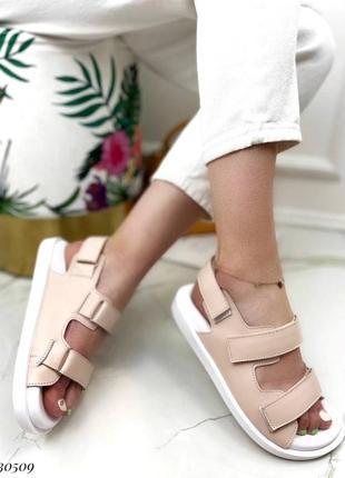 Босоножки на липучках натуральная кожа на платформе тлетние сандалии сандали боссоножки бежевые