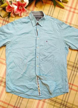 Нежно голубая рубашка на лето короткий рукав топ качества casamoda размер l