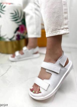 Босоножки на липучках натуральная кожа на платформе тлетние сандалии сандали боссоножки рептилия питон белые3 фото
