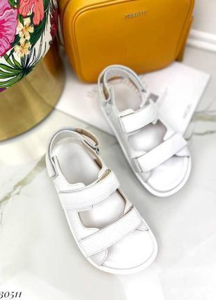 Босоножки на липучках натуральная кожа на платформе тлетние сандалии сандали боссоножки рептилия питон белые4 фото