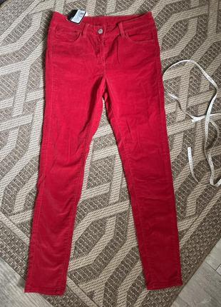 Красные вельветовые брюки джинсы скини marks&spencer 12 размер(м)