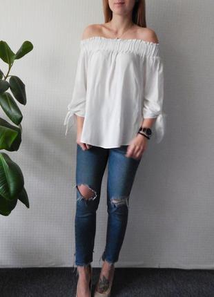 Блуза со спущенными плечами h&m