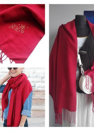 🌹☕️🛍 красивый эффектный красный шарф/палантин вискоза/шерсть julien macdonald 🌹☕️🛍