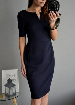 Темно-синее платье миди m&s