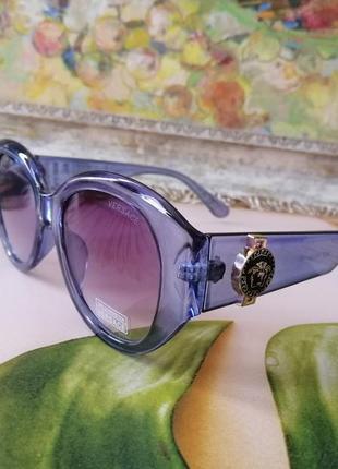 Эксклюзивные брендовые округлые солнцезащитные женские голубые очки окуляри