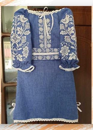 Сукня-вишиванка під джинс на 3-12р