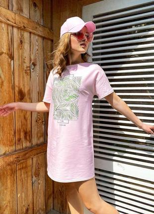 Мини💕платье футболка оверсайз свободного кроя с принтом 4 цвета