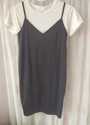 Костюм черное платье сарафан майка + две футболки с-м