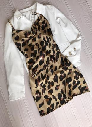 Атласное платье в леопардовый принт