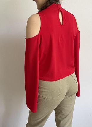 Красная блуза h&m с чокером рукава клш zara asos h&m