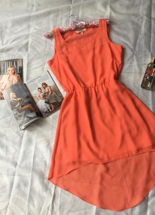 Платье шифоновое летнее с шлейфом  цвет оранжевый яркий персик