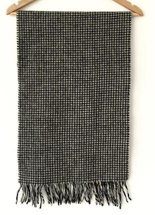 Кашемировый шарф в черно-белую клетку с шерстью renard