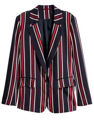 Яркий пиджак жакет блейзер в полоску  h&m1 фото