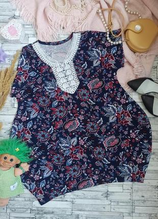 Платье в цветочек туника большого размера батал