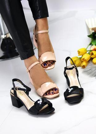 Шикарные стильные женские босоножки на каблуке, очень удобные, чёрные9 фото