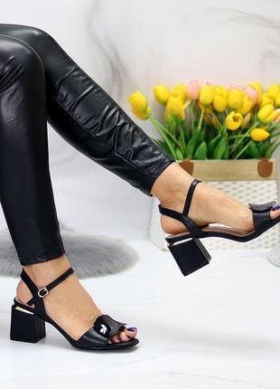 Шикарные стильные женские босоножки на каблуке, очень удобные, чёрные5 фото
