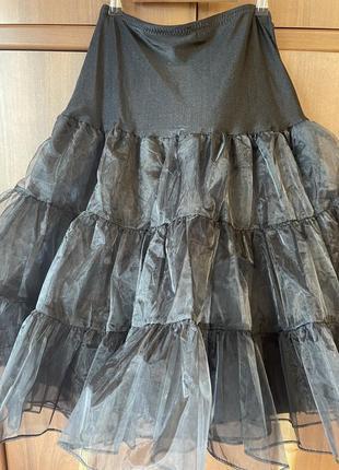 Фатиновая юбка пышный чёрный подъюбник