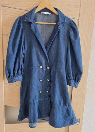 Джинсовое платье zara с рукавами-фонариками,  м-l