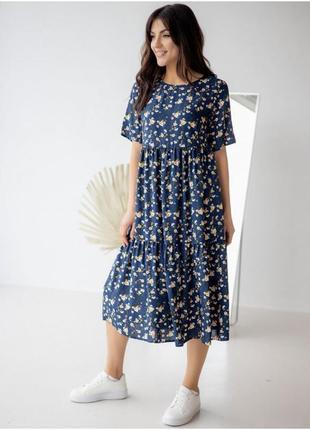 Стильное летнее платье в цветочек, свободное платье, жіноча сукня літня