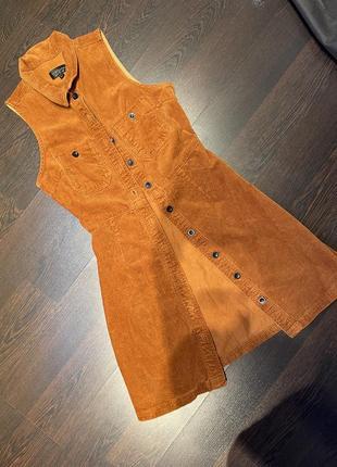 Брендовое крутое вельвет платье рубашка сарафан