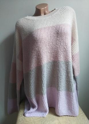 Свитер большого размера. пуловер оверсайз. пудровый, молочный, сиреневый, серый.