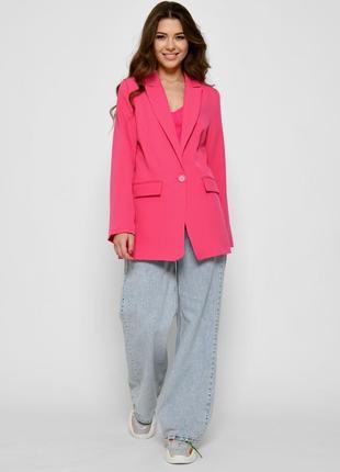 Удлиненный женский пиджак прямого кроя в розовом цвете (3 цвета)