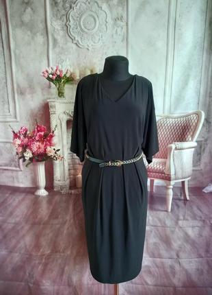 Стильное базовое платье миди чёрное