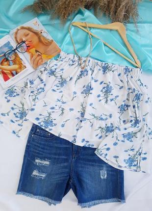 🥳💜💙summer sale 💜💙легкая и нежная блуза на плечи в цветочный принт1 фото