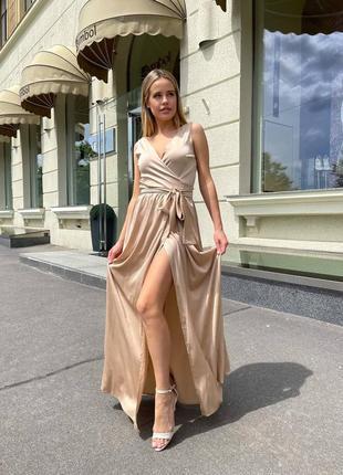 Шикарное шелковое платье на запах в пол