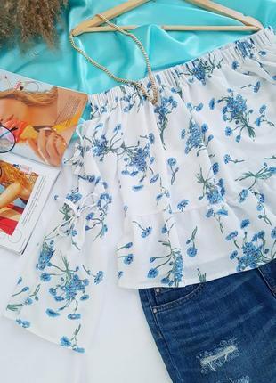 🥳💜💙summer sale 💜💙легкая и нежная блуза на плечи в цветочный принт2 фото
