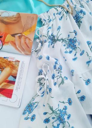🥳💜💙summer sale 💜💙легкая и нежная блуза на плечи в цветочный принт3 фото