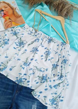🥳💜💙summer sale 💜💙легкая и нежная блуза на плечи в цветочный принт5 фото