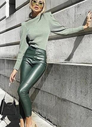 Новые зелёные леггинсы zara с биркой👖размер xs