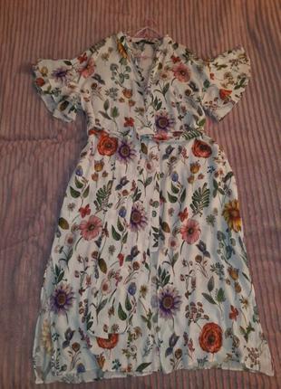 Шикарное платьелатье-рубашка от  zara basic collection, размер л