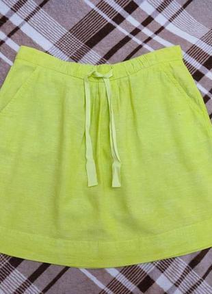 Летняя короткая льняная юбка benetton, p. m