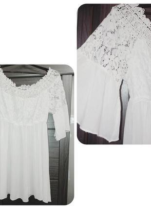 Летнее платье белое из хлопка и кружева 36р