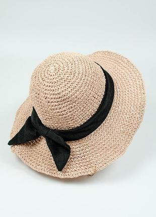 Легкая пляжная шляпа с бантиком пудровая