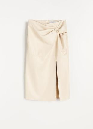 Женская кожаная нюдовая юбка миди юбка с разрезом