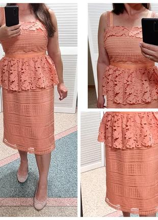 Шикарное кружевное платье на бретелях mint&berry