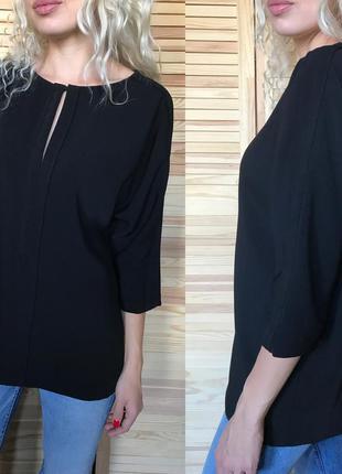 Чёрная плотная блуза zara
