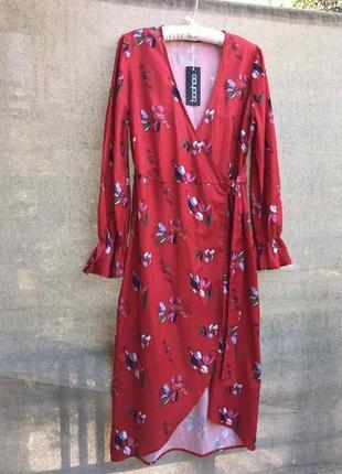 Платье на запах халат сатиновое атласное цветочный принт цветастое цветочек сексуальное